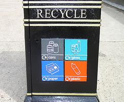 COV 722 Covent Garden recycling bin with plaque