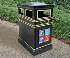 COV722 Covent Garden recycling dual litter bin