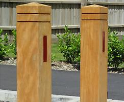 Epping timber bollards with two grooves and reflective
