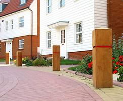 ESG250/900 Epping timber bollard with groove & red tape