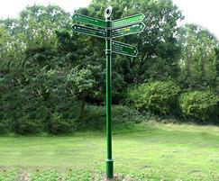 Guildford fingerpost signage, Green Chain Walk, London