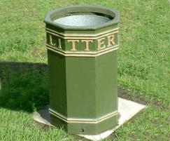 COV912 LR Covent Garden Octagonal open top litter bin