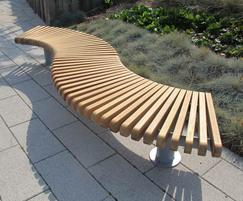 Bench comprising, curved Start & End modules