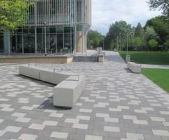 Blyth concrete benches with stainless steel armrests