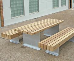 Galvanised finish and kiln-dried iroko timber slats
