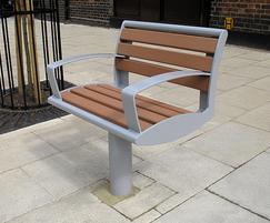 Zenith® powder coated grey single seat & recycled slats