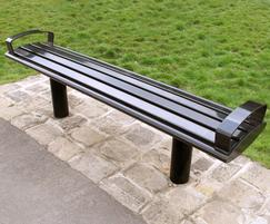 Zenith® all steel powder coated black bench with arms