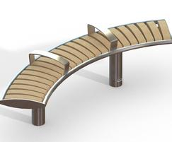 Zenith® curved stainless steel & iroko timber bench