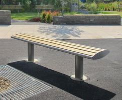 Powder coated bench with wood plastic composite slats