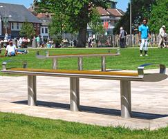Zenith benches, stainless steel with iroko timber slats