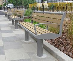 Zenith seat powder coated, wood plastic composite slats