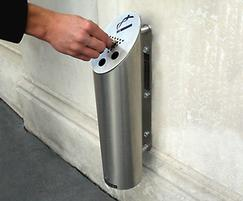 250 wall mounted satin stainless steel ash waste bin