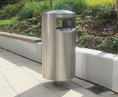 Zenith stainless steel litter bins, Hereford