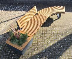 470mm high planter, straight seat & curved bench