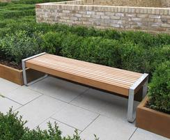 Elements 1.8m bench, timber slats, open frame support