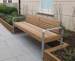 Elements 1.8m seat, timber slats, open frame support
