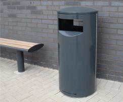 ZEN500 Zenith steel powder coated litter bin in grey