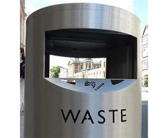 Zenith post mounted litter bin with laser cut lettering