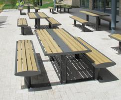 Zenith picnic table & bench combination, powder coated