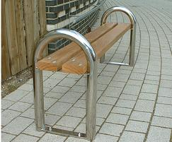 DST 6 District 3 person bench in stainless steel