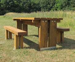 Stark Table and Single Slat Benches