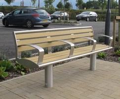 Zenith® seat, satin polished,  WPC slats