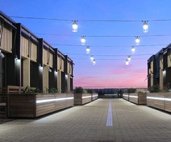 Garden Court planters with integrated lighting