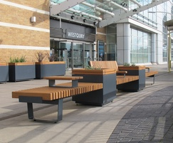 RailRoad planters with seating - shopping centre