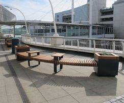 Planters with integrated seating for shopping centre