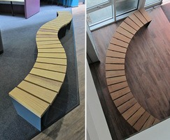 Veeva wave-form and curved seating, front-to-back slats