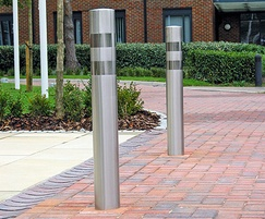 Zenith Banded bollard, satin steel with bright bands