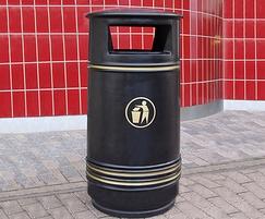 Fenchurch Plastic Litter Bin with tidy man logo