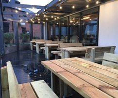 Stark table and seats for outdoor seating area