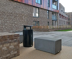 Blyth seat & Arca circular litter bin, London Docklands