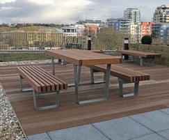 RailRoad picnic table and benches on roof terrace