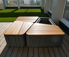 Uniun seating and planters on roof terrace