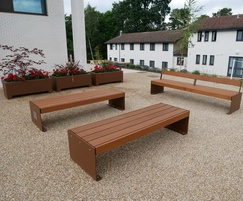Elements XL seat & bench in a corten effect PPC finish
