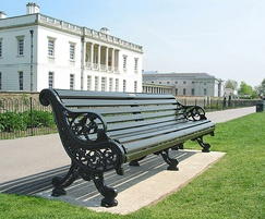 Rotherham cast iron and painted timber bench seat