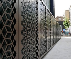 Bespoke decorative steel panels screen former bin store
