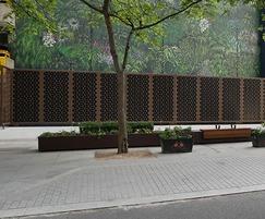 Bespoke decorative steel panels for landscape screening