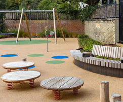 Bespoke seating and raised planters for Russell Gardens