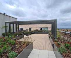 Raised planter beds on residential rooftop