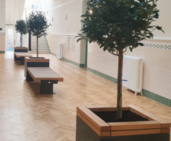 RailRoad planters with integrated seating