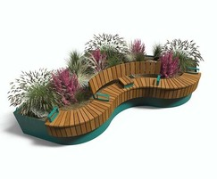 AKRI 600 raised planter with seating, cladding, tablet