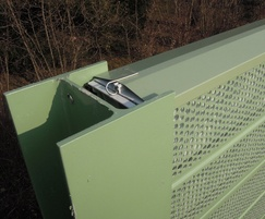 Recycled PVC and PET polymer noise barrier detail