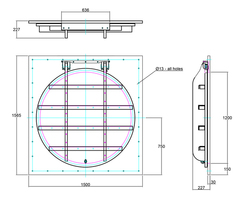 1200mm flap valve line drawing