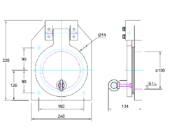 150mm Square Flap Valve Drawing