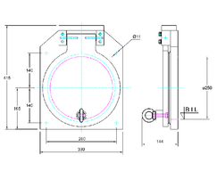 250mm Square Flap Valve Drawing