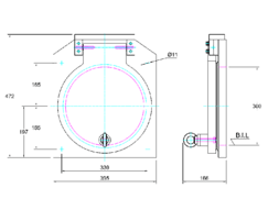 300mm Square Flap Valve Drawing