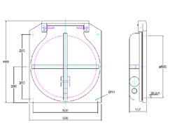 500mm Square Flap Valve Drawing